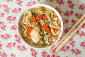 Bowls of Asian soup noodles — Stock Photo