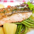 Grilled salmon with sauce — Stock Photo #35457969