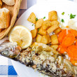 Delicious plate of fish and carrot — Stock Photo
