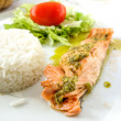 Постер, плакат: Grilled salmon and rice