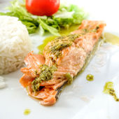 Grilled salmon and rice — Stock Photo