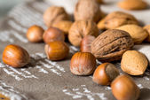 Vintage styled Mixed nuts — Stock Photo