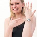 Woman and wrist watch — Stock Photo #40098053