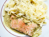 Pasta and smoked salmon — Stok fotoğraf