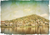 Vintage view to old town of Heidelberg — Foto de Stock