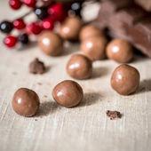 Chocolate on brown napkin  — Stock Photo