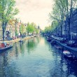 Beautiful view of Amsterdam canals with bridge and typical dutch — Stock Photo #45954039
