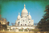 Vintage Sacre-Coeur church in Montmartre — Stock Photo