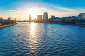 River view of The Eiserner Steg in Frankfurt — Stock Photo