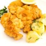 Veal cutlet and lemon, austrian cuisine — Stock Photo #49794331