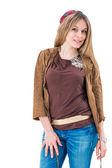 Lachende jonge aantrekkelijke vrouw portret — Stockfoto