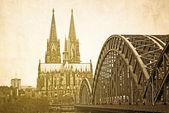 Retro Gothic Cathedral in Cologne — Stockfoto