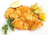 Wiener schnitzel, veal cutlet and lemon, — Stock Photo
