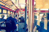 People at Typical Tramway in Lisbon — 图库照片