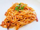 Italian meat sauce pasta on the table — Stock Photo