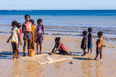 Malagasy children on the beach — Stock Photo