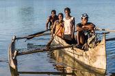 Canoe at sunrise — Stock Photo