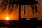 Sunbeds at sunset — Stock Photo