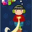 Royalty-Free Stock Vektorfiler: Young girl dreaming about christmas gifts.