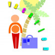 Man go to holidays - colorful illustration. — Stock Vector
