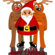 Santa claus with two reindeers — Stock Vector