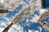 Blue sky and three chimney . — Foto Stock