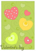Colorful hearts on green background — Stock Vector