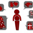 simple icons for christmas time - vector illustration — Stock Vector