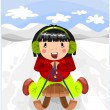 Relax time - girl on the wooden sled. — Stock Vector