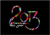 Happy new year card on black background - 2013 — Stock Vector