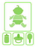Simple icons - baby and accessories, vector illustration. — Stock Vector