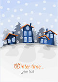 View on small village on the hill in winter time. — Stock Vector