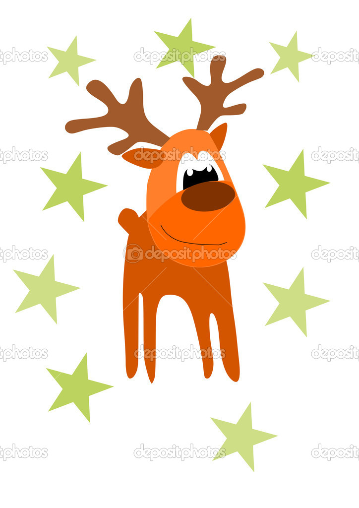 Funny rein deer - illustration for christmas time.   Stock Vector #14332709