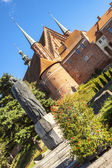 Nicolaus copernicus statue and Cathedral - Frombork. — Stock Photo