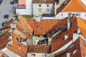 Red roofs - Reszel, Poland. Aerial view. — Stock Photo