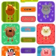Stock Vector: Animals from happy farm