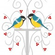 Stock Vector: Two tits on branch