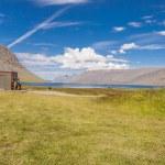Camping under Dynjandi waterfall - Iceland. — Stock Photo