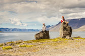 Tourist on the rocks - Iceland, Westfjords. — Stock Photo