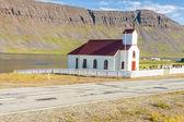 Pequena igreja de madeira em reykjanes - islândia. — Fotografia Stock