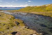 река в unadsdalur деревне - исландия, вестфирдир. — Стоковое фото