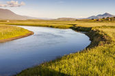 Icelandic river in background varmahlio village. — ストック写真