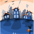 Village on the sky colourful sunset — Stock Vector