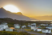 Sunset over the Djupivogur village - Iceland. — Stock Photo