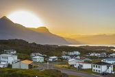 Sunset over the Djupivogur village - Iceland. — Stock Photo