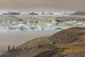 Jokulsarlon 环礁湖-冰岛。在背景瓦特纳冰原冰川. — 图库照片