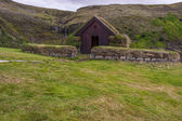 Traditional house Pjodveldisbaer, Iceland. — Stock Photo