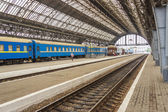 Platform of railway station in Lviv - Ukraine. — Stock Photo