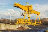 Yellow gantry crane. — Stock Photo