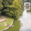 Small lake in background main gate to Sofiyivsky park - Uman, Uk — Stock Photo